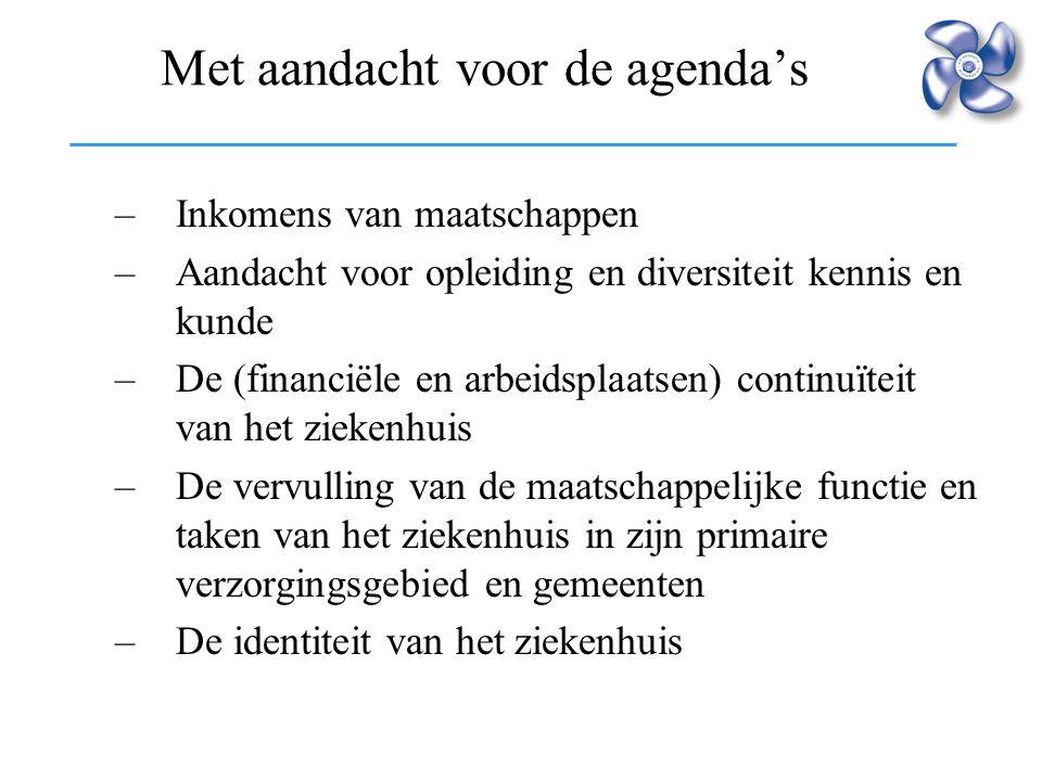 Met aandacht voor de agenda's –Inkomens van maatschappen –Aandacht voor opleiding en diversiteit kennis en kunde –De (financiële en arbeidsplaatsen) c