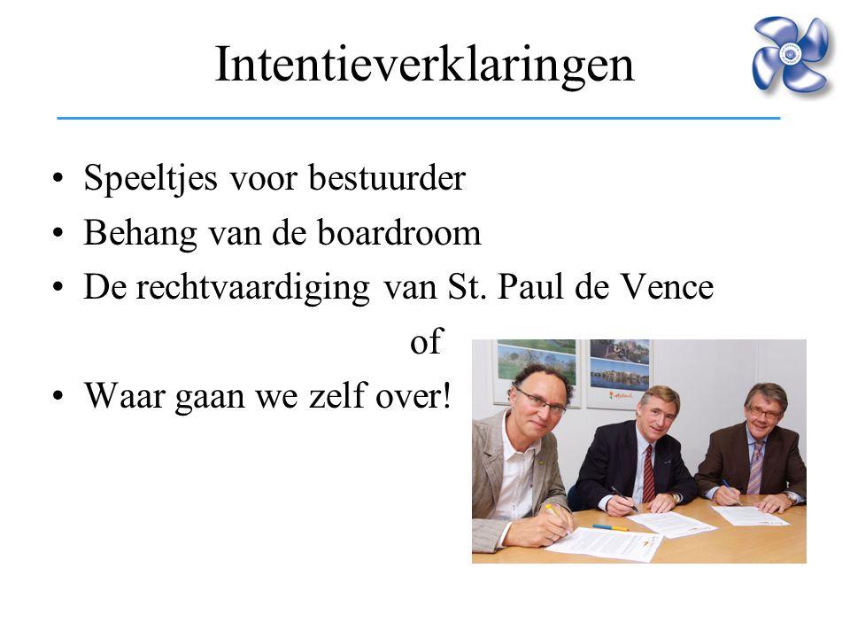 Intentieverklaringen Speeltjes voor bestuurder Behang van de boardroom De rechtvaardiging van St. Paul de Vence of Waar gaan we zelf over!