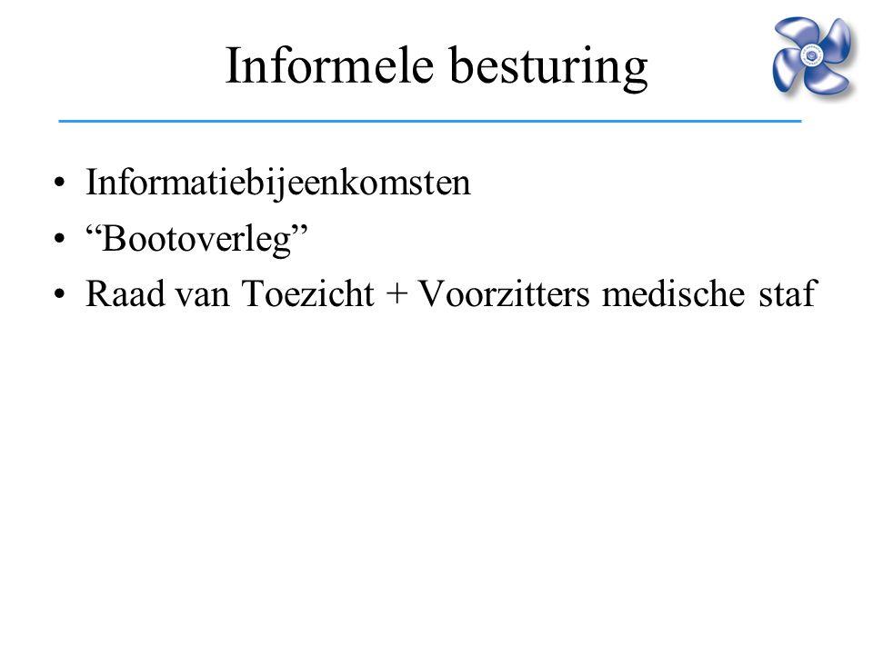 """Informele besturing Informatiebijeenkomsten """"Bootoverleg"""" Raad van Toezicht + Voorzitters medische staf"""