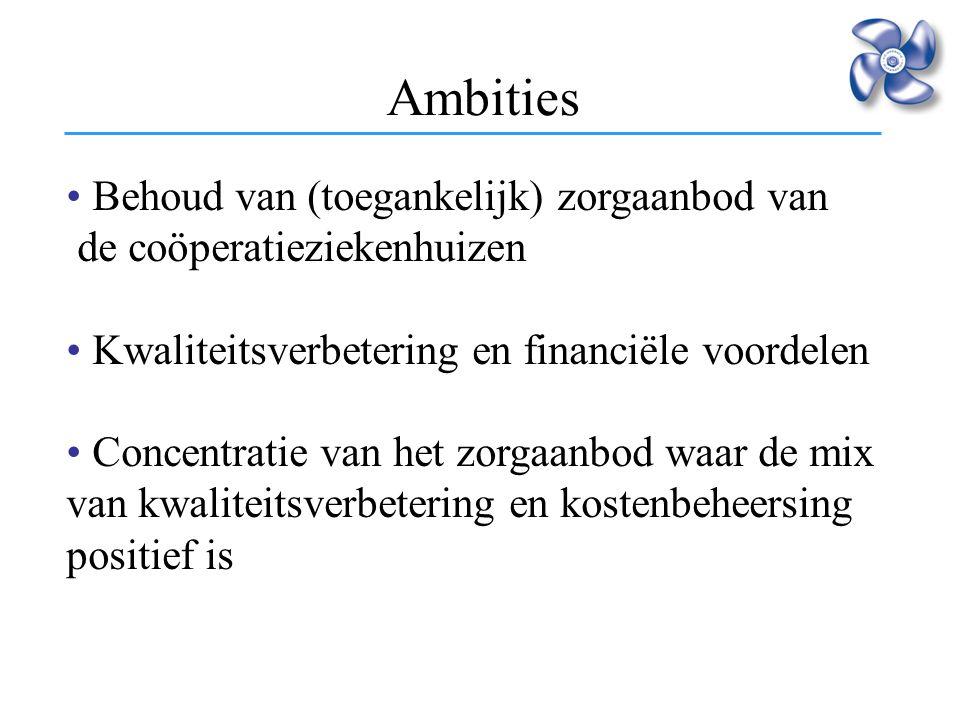 Ambities Behoud van (toegankelijk) zorgaanbod van de coöperatieziekenhuizen Kwaliteitsverbetering en financiële voordelen Concentratie van het zorgaan