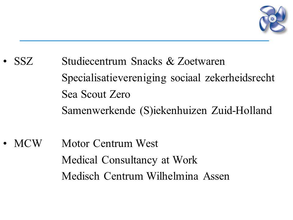 SSZStudiecentrum Snacks & Zoetwaren Specialisatievereniging sociaal zekerheidsrecht Sea Scout Zero Samenwerkende (S)iekenhuizen Zuid-Holland MCWMotor