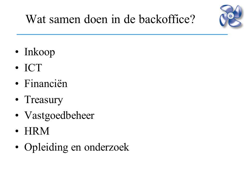 Wat samen doen in de backoffice? Inkoop ICT Financiën Treasury Vastgoedbeheer HRM Opleiding en onderzoek