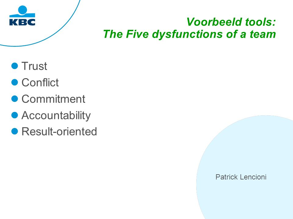 Voorbeeld tools: The Five dysfunctions of a team Trust Conflict Commitment Accountability Result-oriented Patrick Lencioni