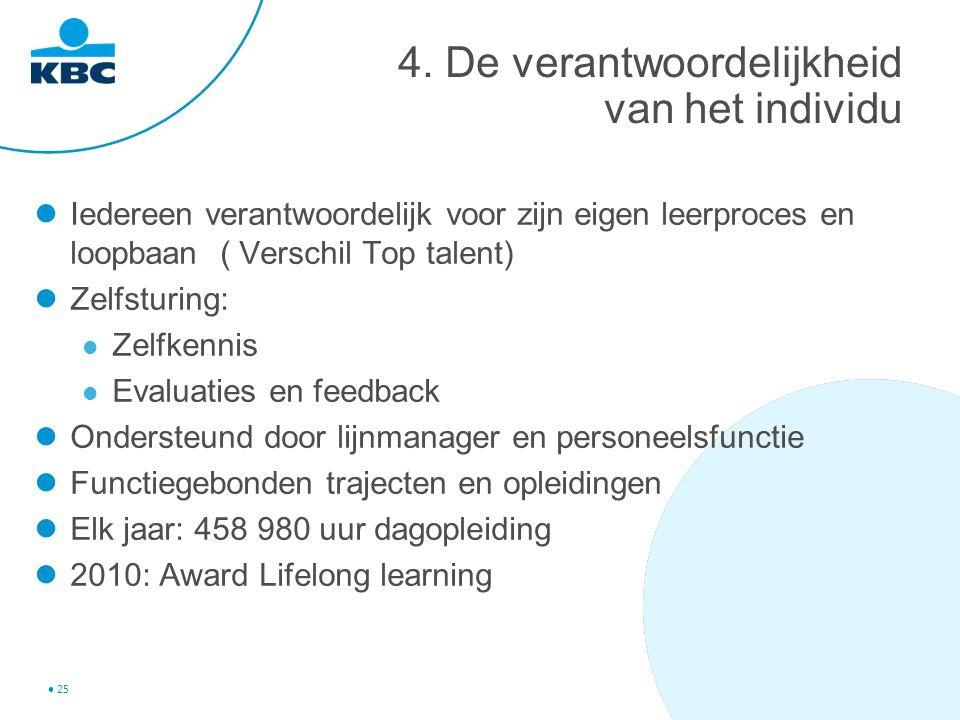 25 4. De verantwoordelijkheid van het individu Iedereen verantwoordelijk voor zijn eigen leerproces en loopbaan ( Verschil Top talent) Zelfsturing: Ze