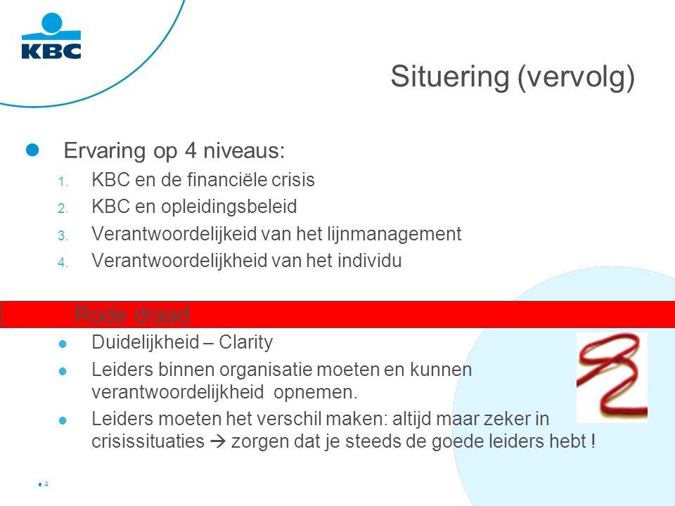 4 Situering (vervolg) Ervaring op 4 niveaus: 1. KBC en de financiële crisis 2.