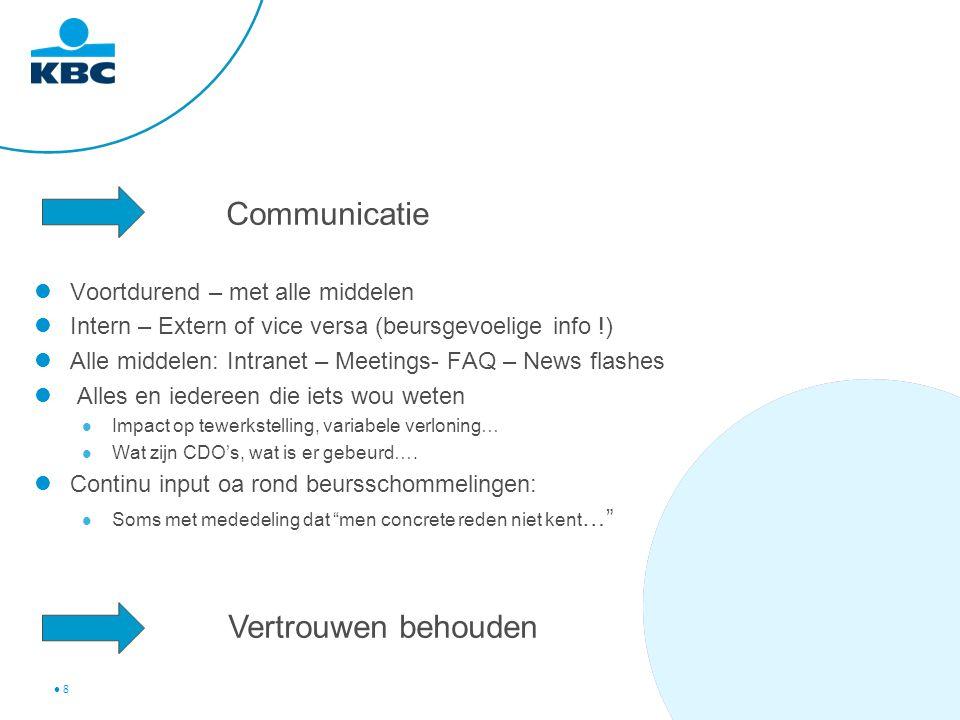 8 Communicatie Voortdurend – met alle middelen Intern – Extern of vice versa (beursgevoelige info !) Alle middelen: Intranet – Meetings- FAQ – News fl