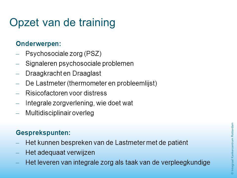 Opzet van de training Onderwerpen: – Psychosociale zorg (PSZ) – Signaleren psychosociale problemen – Draagkracht en Draaglast – De Lastmeter (thermome