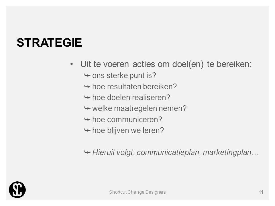 STRATEGIE Uit te voeren acties om doel(en) te bereiken: ➥ ons sterke punt is? ➥ hoe resultaten bereiken? ➥ hoe doelen realiseren? ➥ welke maatregelen