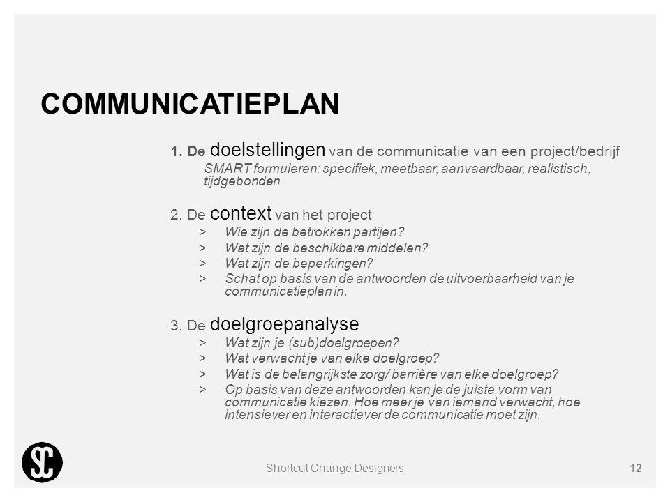 COMMUNICATIEPLAN 1. De doelstellingen van de communicatie van een project/bedrijf SMART formuleren: specifiek, meetbaar, aanvaardbaar, realistisch, ti