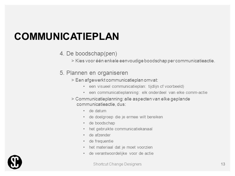 COMMUNICATIEPLAN 4. De boodschap(pen) > Kies voor één enkele eenvoudige boodschap per communicatieactie. 5. Plannen en organiseren > Een afgewerkt com