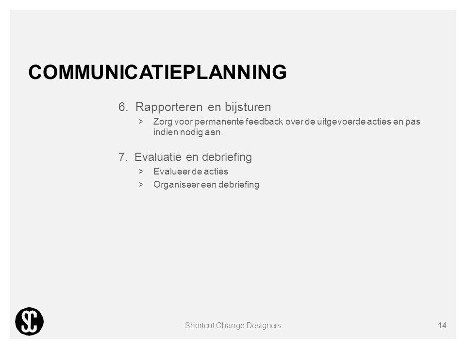 COMMUNICATIEPLANNING 6. Rapporteren en bijsturen  Zorg voor permanente feedback over de uitgevoerde acties en pas indien nodig aan. 7. Evaluatie en d