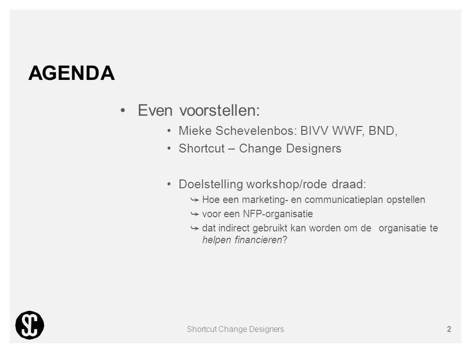 AGENDA Even voorstellen: Mieke Schevelenbos: BIVV WWF, BND, Shortcut – Change Designers Doelstelling workshop/rode draad: ➥ Hoe een marketing- en comm