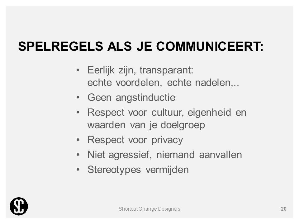 SPELREGELS ALS JE COMMUNICEERT: Eerlijk zijn, transparant: echte voordelen, echte nadelen,.. Geen angstinductie Respect voor cultuur, eigenheid en waa