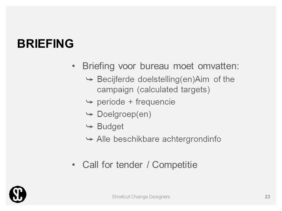 BRIEFING Briefing voor bureau moet omvatten: ➥ Becijferde doelstelling(en)Aim of the campaign (calculated targets) ➥ periode + frequencie ➥ Doelgroep(