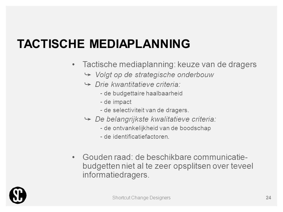 TACTISCHE MEDIAPLANNING Tactische mediaplanning: keuze van de dragers ➥ Volgt op de strategische onderbouw ➥ Drie kwantitatieve criteria: - de budgett