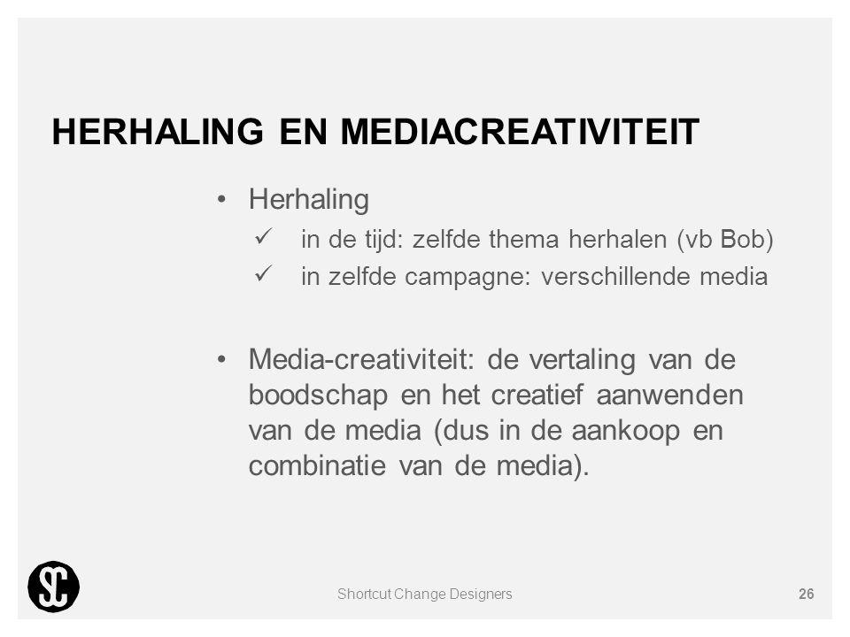 HERHALING EN MEDIACREATIVITEIT Herhaling in de tijd: zelfde thema herhalen (vb Bob) in zelfde campagne: verschillende media Media-creativiteit: de ver