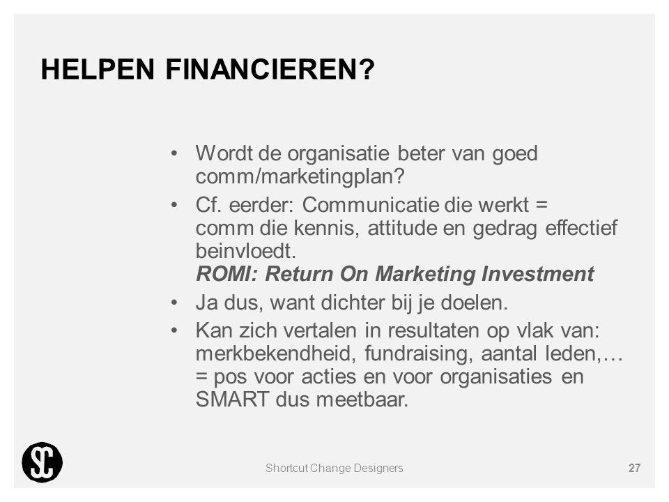 HELPEN FINANCIEREN? Wordt de organisatie beter van goed comm/marketingplan? Cf. eerder: Communicatie die werkt = comm die kennis, attitude en gedrag e