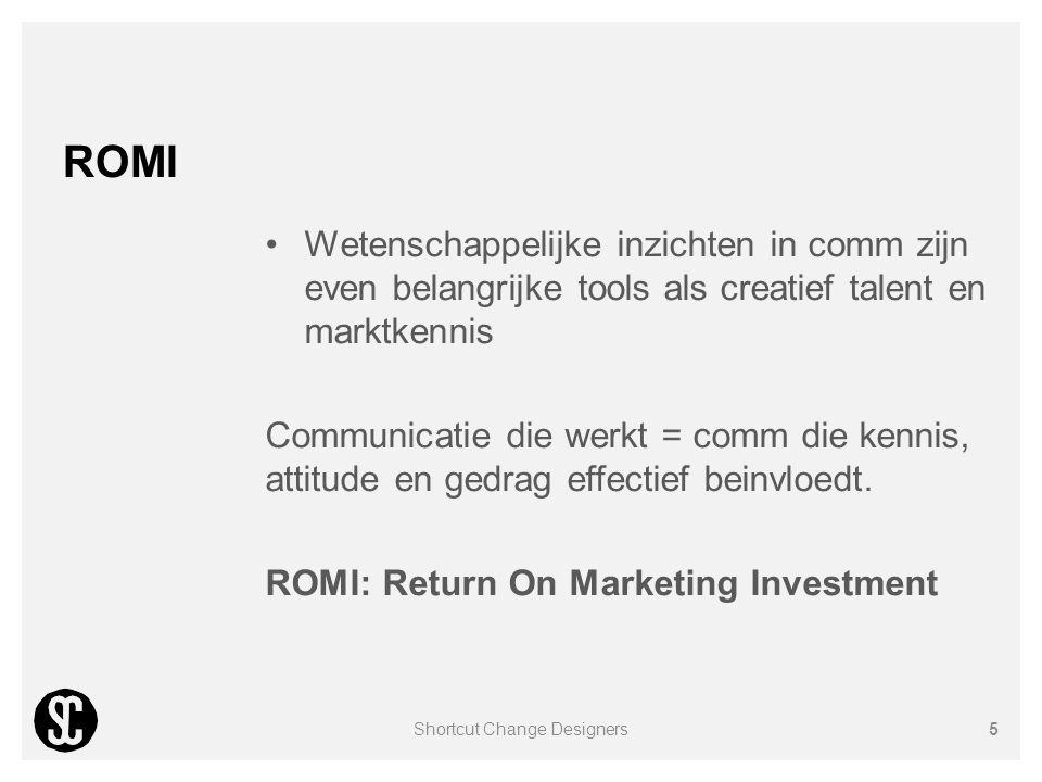 ROMI Wetenschappelijke inzichten in comm zijn even belangrijke tools als creatief talent en marktkennis Communicatie die werkt = comm die kennis, atti