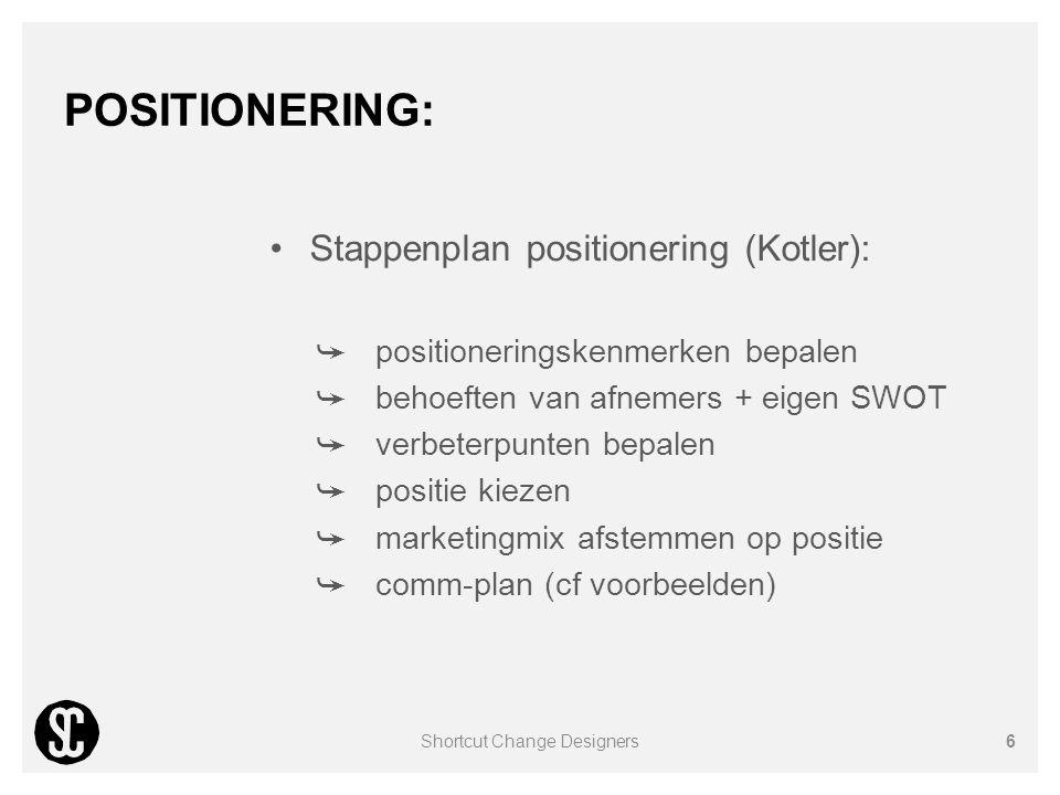 POSITIONERING: Stappenplan positionering (Kotler): ➥ positioneringskenmerken bepalen ➥ behoeften van afnemers + eigen SWOT ➥ verbeterpunten bepalen ➥