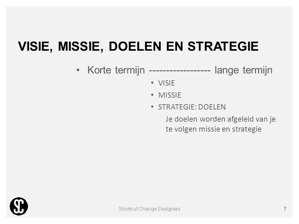 VISIE, MISSIE, DOELEN EN STRATEGIE Korte termijn ------------------ lange termijn VISIE MISSIE STRATEGIE: DOELEN Je doelen worden afgeleid van je te v