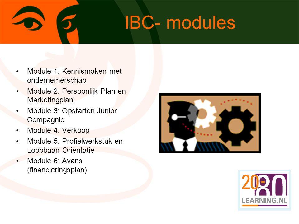 Module 1: Kennismaken met ondernemerschap Module 2: Persoonlijk Plan en Marketingplan Module 3: Opstarten Junior Compagnie Module 4: Verkoop Module 5: Profielwerkstuk en Loopbaan Oriëntatie Module 6: Avans (financieringsplan) IBC- modules