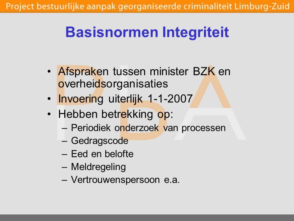 Basisnormen Integriteit Afspraken tussen minister BZK en overheidsorganisaties Invoering uiterlijk 1-1-2007 Hebben betrekking op: –Periodiek onderzoek van processen –Gedragscode –Eed en belofte –Meldregeling –Vertrouwenspersoon e.a.