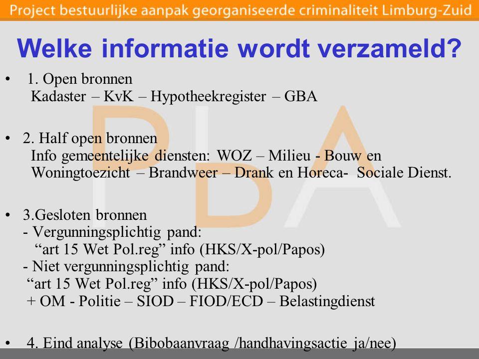 Welke informatie wordt verzameld. 1. Open bronnen Kadaster – KvK – Hypotheekregister – GBA 2.