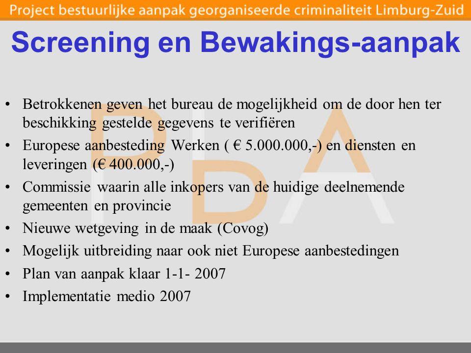 Screening en Bewakings-aanpak Betrokkenen geven het bureau de mogelijkheid om de door hen ter beschikking gestelde gegevens te verifiëren Europese aanbesteding Werken ( € 5.000.000,-) en diensten en leveringen (€ 400.000,-) Commissie waarin alle inkopers van de huidige deelnemende gemeenten en provincie Nieuwe wetgeving in de maak (Covog) Mogelijk uitbreiding naar ook niet Europese aanbestedingen Plan van aanpak klaar 1-1- 2007 Implementatie medio 2007