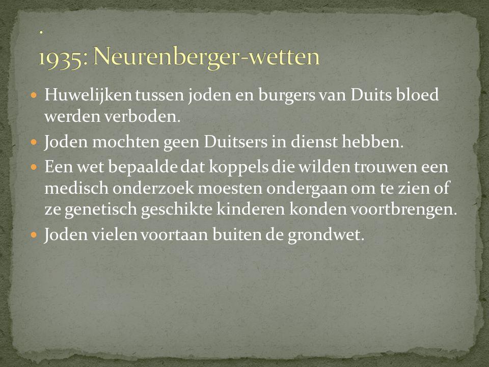 Huwelijken tussen joden en burgers van Duits bloed werden verboden.