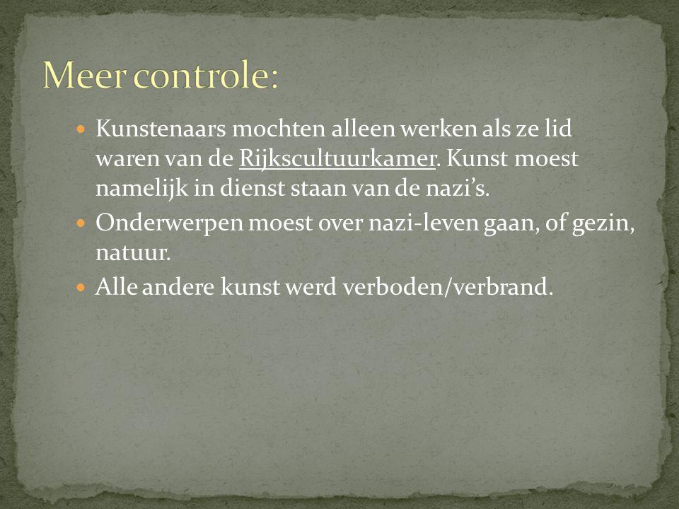 Kunstenaars mochten alleen werken als ze lid waren van de Rijkscultuurkamer.