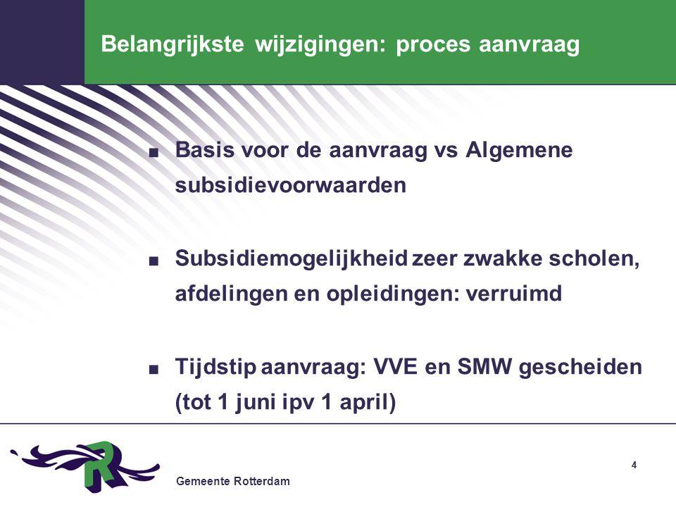 Gemeente Rotterdam 44 Belangrijkste wijzigingen: proces aanvraag. Basis voor de aanvraag vs Algemene subsidievoorwaarden. Subsidiemogelijkheid zeer zw