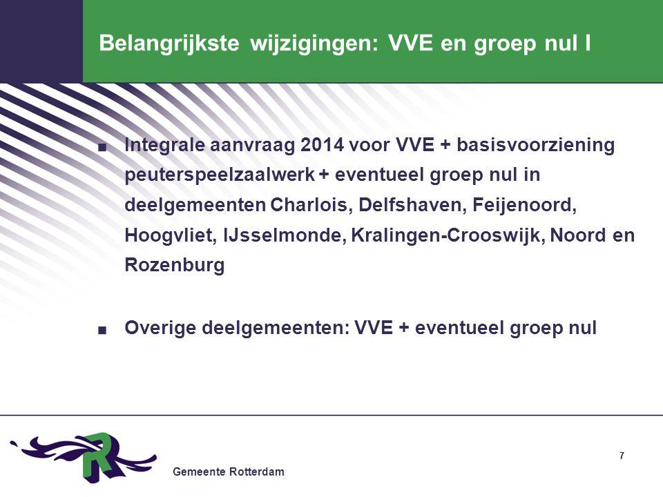 Gemeente Rotterdam 77 Belangrijkste wijzigingen: VVE en groep nul I. Integrale aanvraag 2014 voor VVE + basisvoorziening peuterspeelzaalwerk + eventue