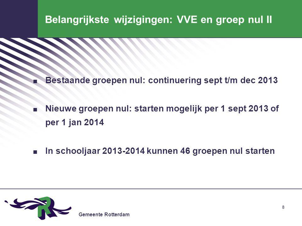 Gemeente Rotterdam 8 Belangrijkste wijzigingen: VVE en groep nul II. Bestaande groepen nul: continuering sept t/m dec 2013. Nieuwe groepen nul: starte
