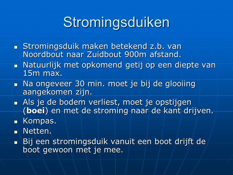 Stromingsduiken Stromingsduik maken betekend z.b. van Noordbout naar Zuidbout 900m afstand. Stromingsduik maken betekend z.b. van Noordbout naar Zuidb