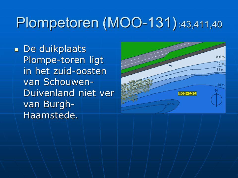 Plompetoren (MOO-131) :43,411,40 De duikplaats Plompe-toren ligt in het zuid-oosten van Schouwen- Duivenland niet ver van Burgh- Haamstede. De duikpla