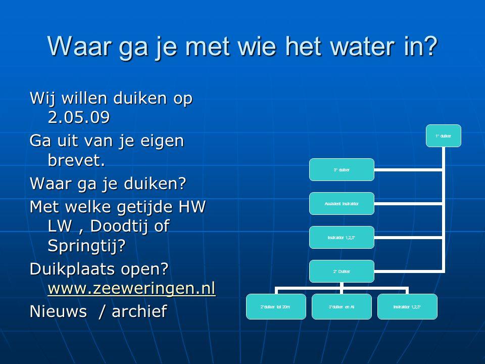 Waar ga je met wie het water in? Wij willen duiken op 2.05.09 Ga uit van je eigen brevet. Waar ga je duiken? Met welke getijde HW LW, Doodtij of Sprin
