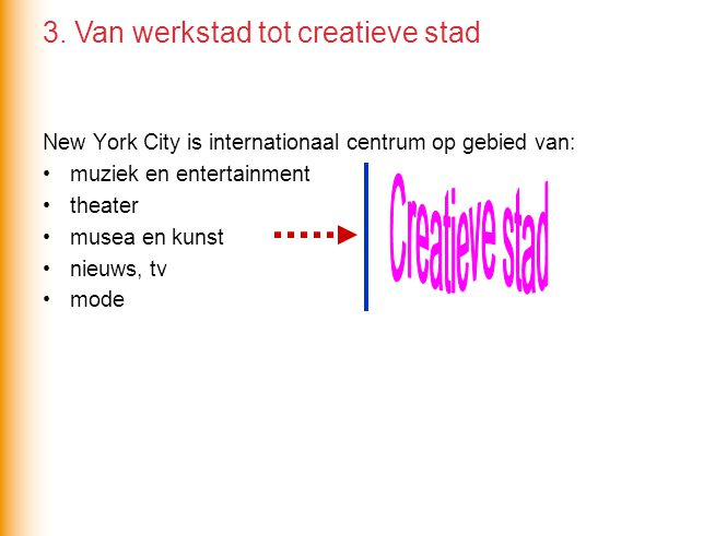 New York City is internationaal centrum op gebied van: muziek en entertainment theater musea en kunst nieuws, tv mode 3.
