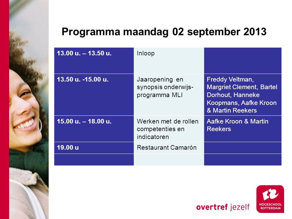 Programma maandag 02 september 2013 13.00 u.– 13.50 u.Inloop 13.50 u.