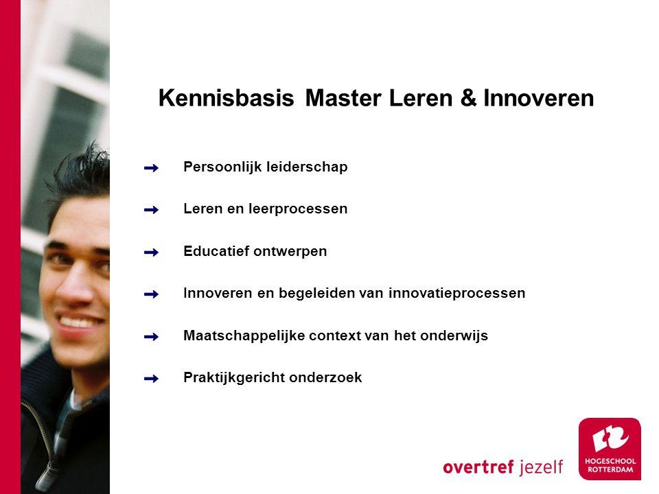 Kennisbasis Master Leren & Innoveren Persoonlijk leiderschap Leren en leerprocessen Educatief ontwerpen Innoveren en begeleiden van innovatieprocessen Maatschappelijke context van het onderwijs Praktijkgericht onderzoek