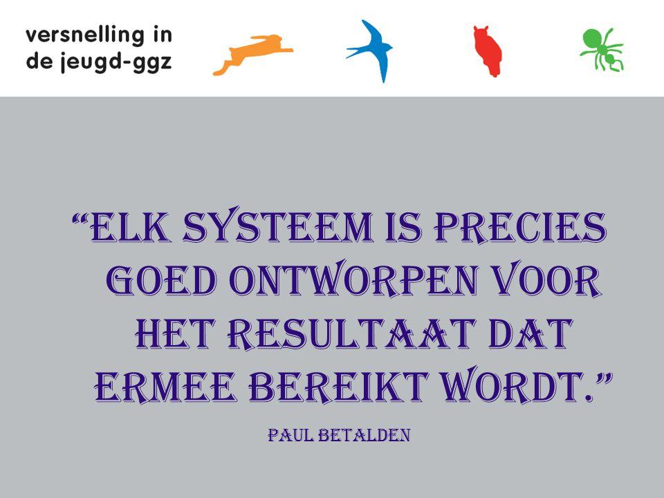 Elk systeem is precies goed ontworpen voor het resultaat dat ermee bereikt wordt. Paul Betalden