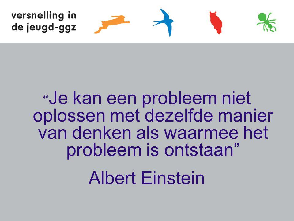 Je kan een probleem niet oplossen met dezelfde manier van denken als waarmee het probleem is ontstaan Albert Einstein