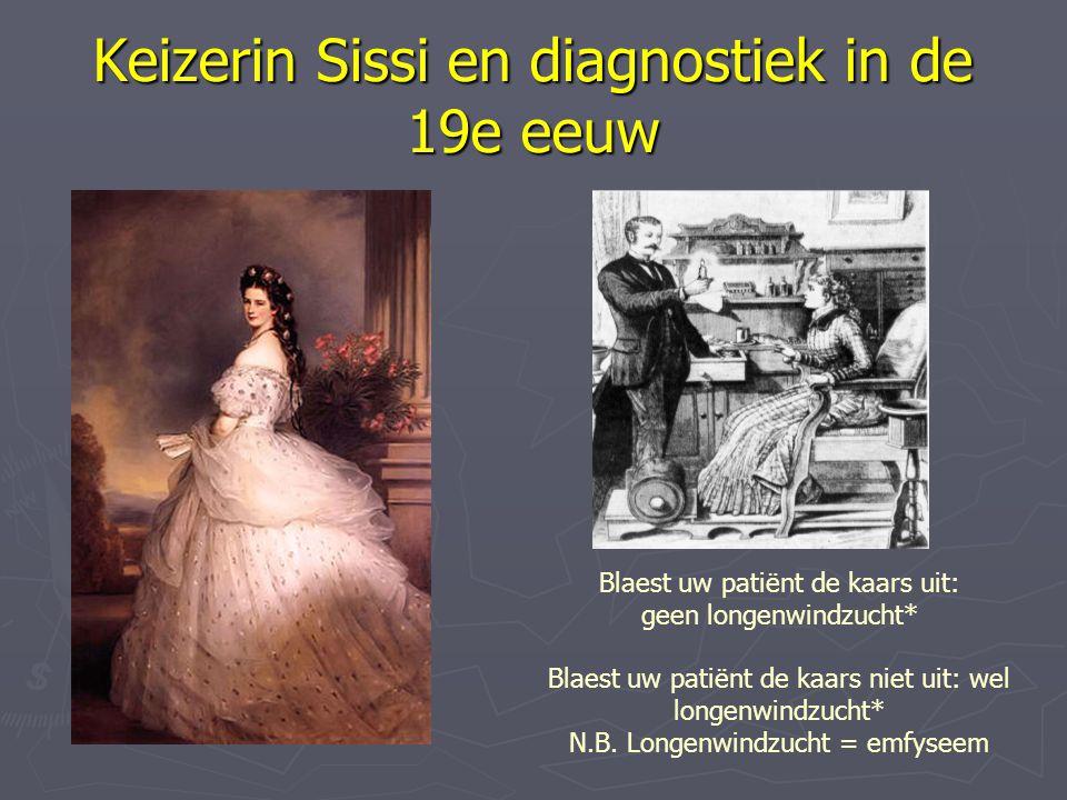 Keizerin Sissi en diagnostiek in de 19e eeuw Blaest uw patiënt de kaars uit: geen longenwindzucht* Blaest uw patiënt de kaars niet uit: wel longenwind