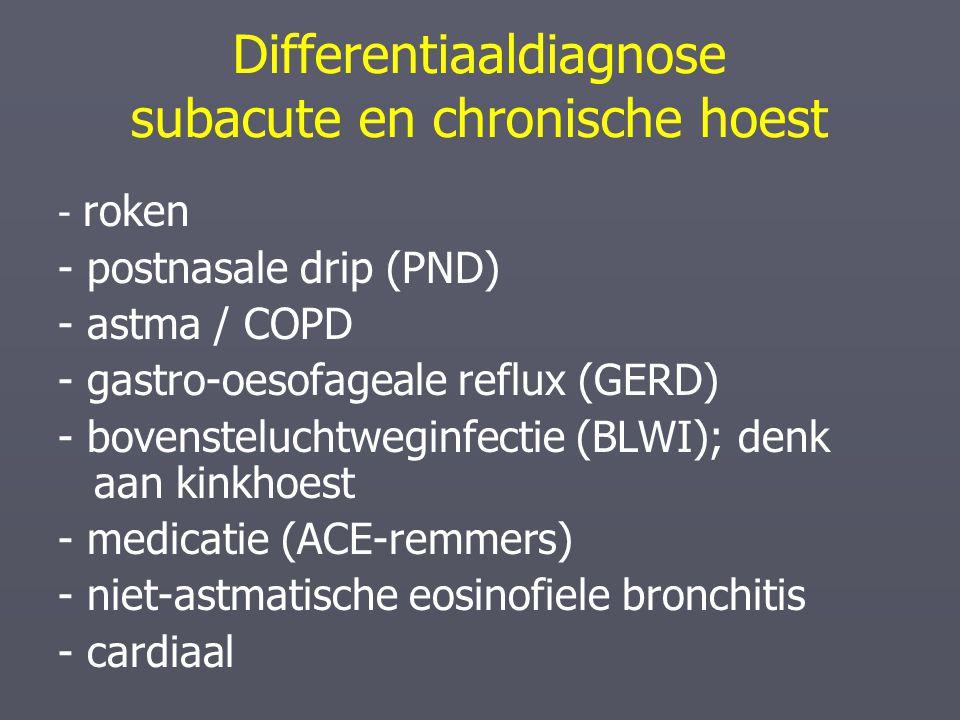 Differentiaaldiagnose subacute en chronische hoest - roken - postnasale drip (PND) - astma / COPD - gastro-oesofageale reflux (GERD) - bovensteluchtwe
