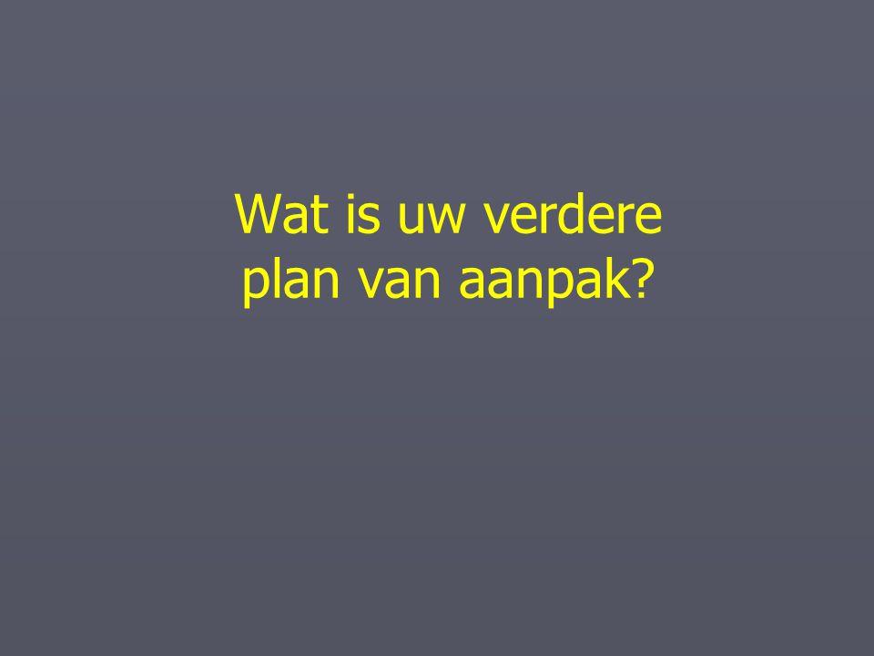 Wat is uw verdere plan van aanpak?