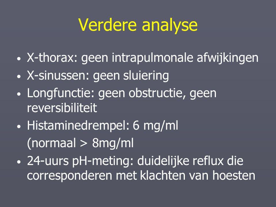 Verdere analyse X-thorax: geen intrapulmonale afwijkingen X-sinussen: geen sluiering Longfunctie: geen obstructie, geen reversibiliteit Histaminedremp