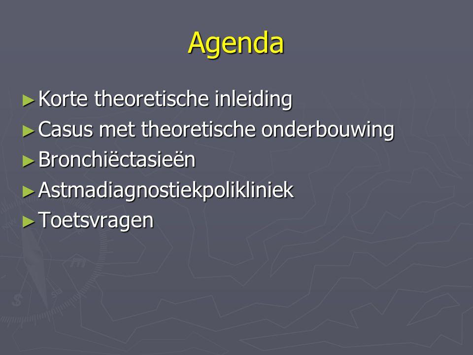 Agenda ► Korte theoretische inleiding ► Casus met theoretische onderbouwing ► Bronchiëctasieën ► Astmadiagnostiekpolikliniek ► Toetsvragen
