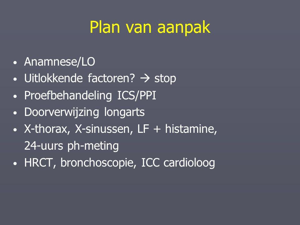 Plan van aanpak Anamnese/LO Uitlokkende factoren?  stop Proefbehandeling ICS/PPI Doorverwijzing longarts X-thorax, X-sinussen, LF + histamine, 24-uur