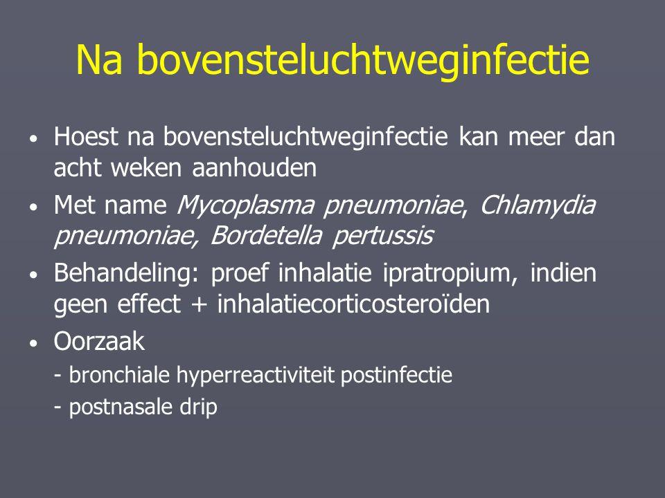 Na bovensteluchtweginfectie Hoest na bovensteluchtweginfectie kan meer dan acht weken aanhouden Met name Mycoplasma pneumoniae, Chlamydia pneumoniae,