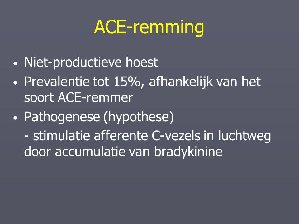 ACE-remming Niet-productieve hoest Prevalentie tot 15%, afhankelijk van het soort ACE-remmer Pathogenese (hypothese) - stimulatie afferente C-vezels i