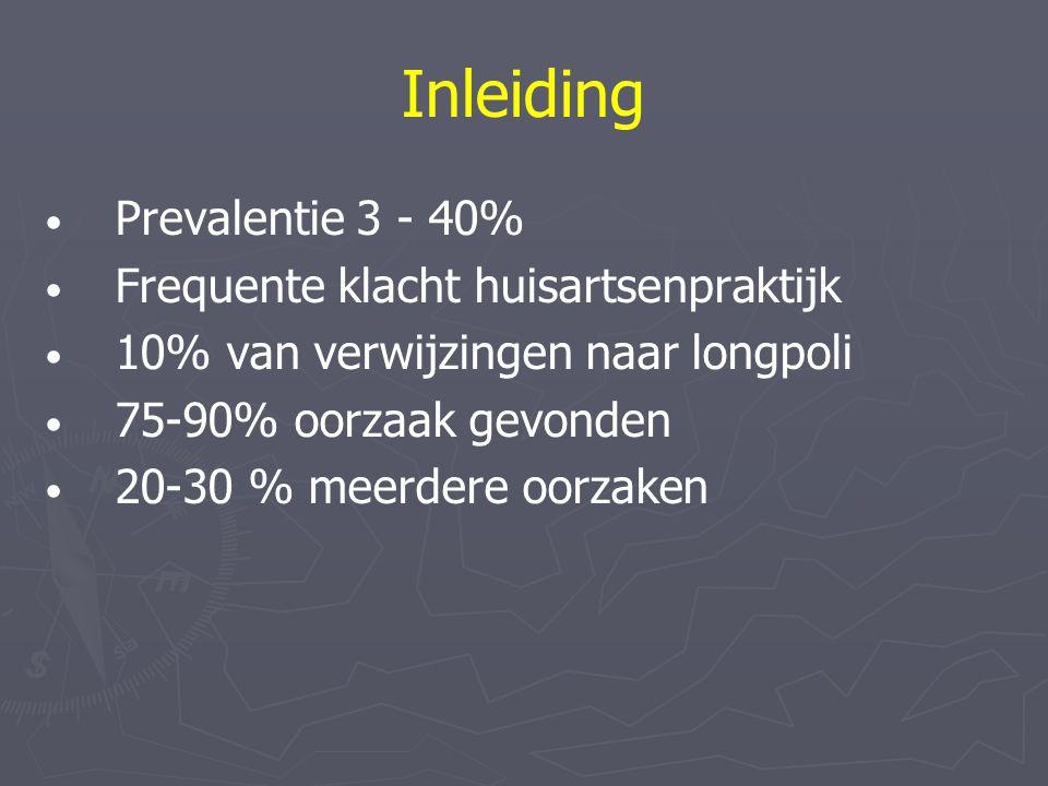 Inleiding Prevalentie 3 - 40% Frequente klacht huisartsenpraktijk 10% van verwijzingen naar longpoli 75-90% oorzaak gevonden 20-30 % meerdere oorzaken